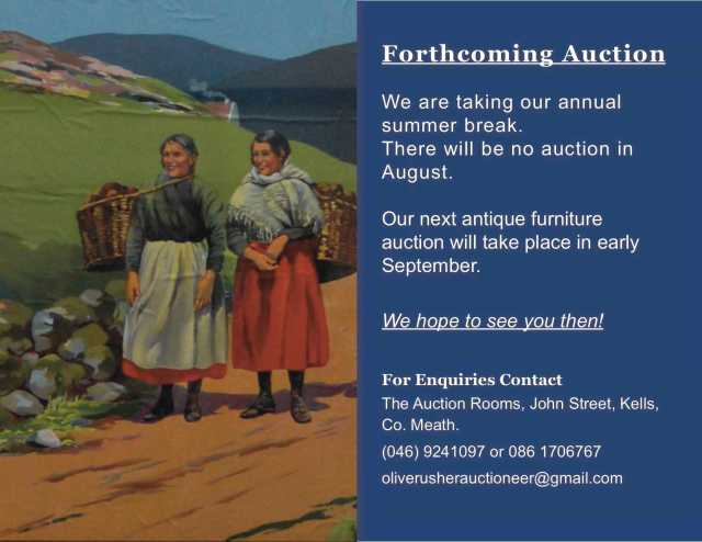 Forthcoming Auction & Holidays.